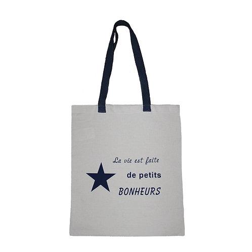 Tote bag à message (personnalisation en flex de la couleur des lanières)