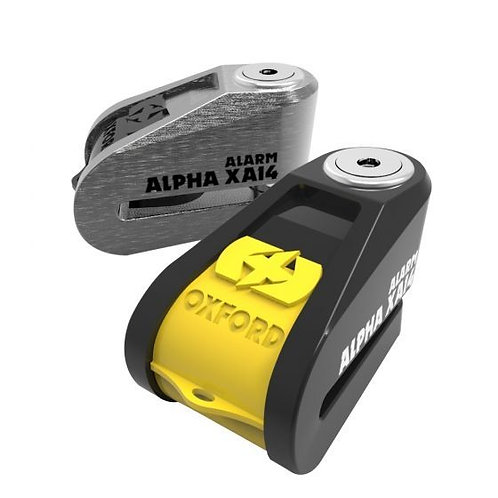 Oxford Alpha XA14 Alarm Stainless disc lock(14mm pin)- Black and yellow