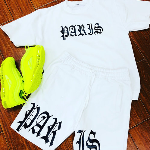 PARIS LOGO SHORTS AND SHORT SLEEVE CUT SWEATER