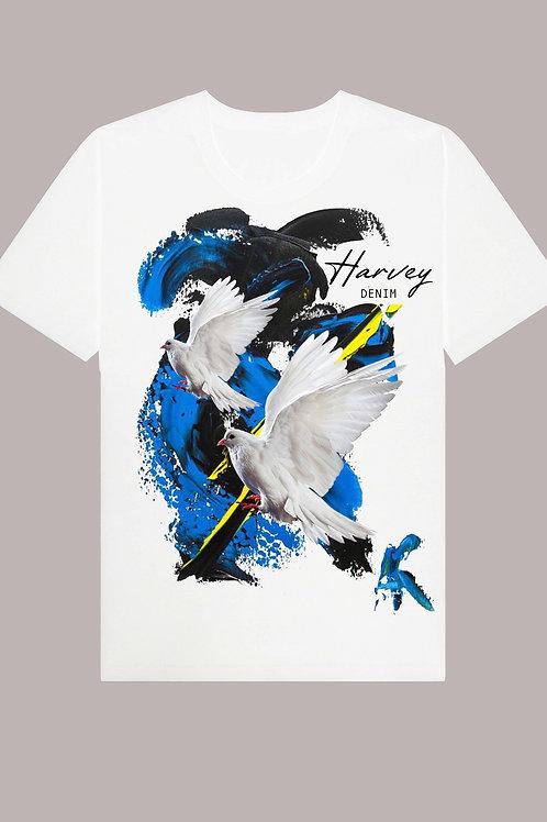 HARVEY DENIM BIRDS COLORS TEE
