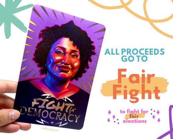 Stacey Abrams foil postcard