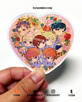 Ouran High School Host Club holographic heart sticker