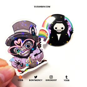 Babadook sticker and button set