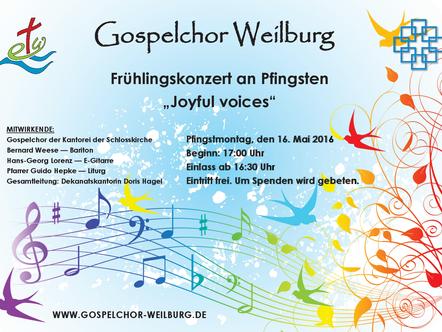 Gottesdienste an Pfingsten und Frühlingskonzert des Gospelchores