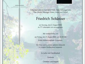 Trauer um Friedrich Schlatzer