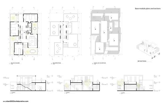 Housing Plans and Sections, Saint Louis, Senegal