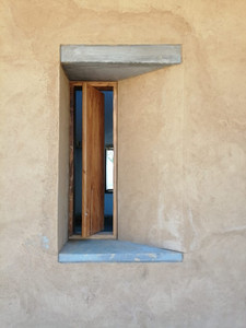 Window detail, Rammed Earth House in Barichara, Colombia