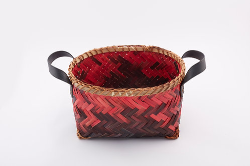 Bamboo Rectangle Tall Basket With Round Mouth Small