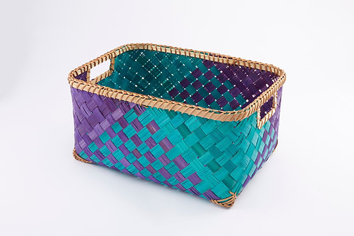Bamboo Rectangle Basket Large Inside Handles