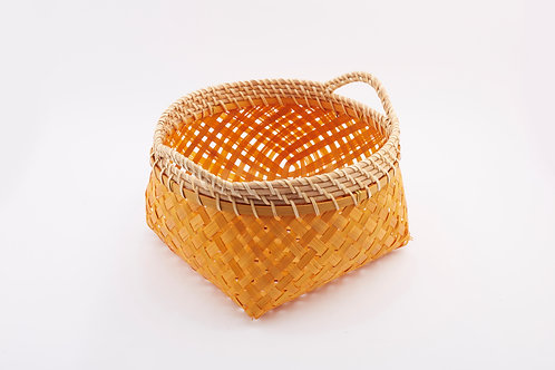 Bamboo Rectangle Basket With Round Mouth Small
