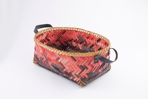 Bamboo Rectangle Tall Basket With Round Mouth Large