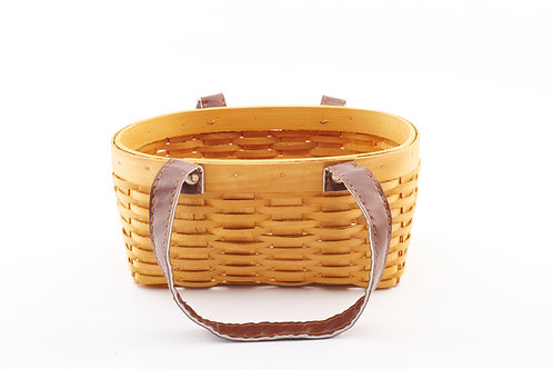Rattan Storage Basket Cuboid Small with Central Handles