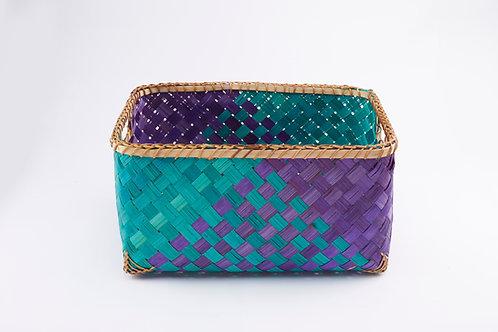 Bamboo Rectangle Basket Medium Inside Handles