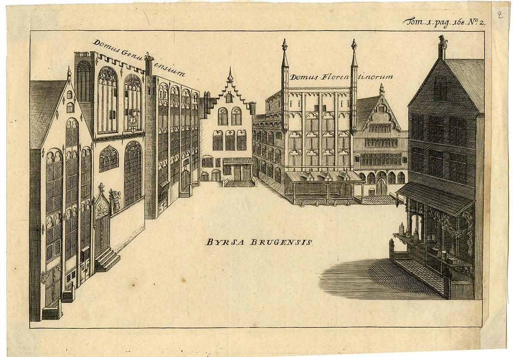 Place de Bruges. La maison de la famille Van den Burse est celle avec la cigogne sur la cheminée. Crédit : Musé de la Banque nationale de Belgique.