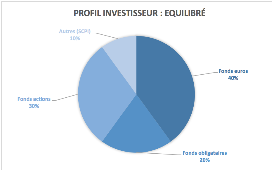 Exemple de répartition pour un investisseur ayant un profil équilibre
