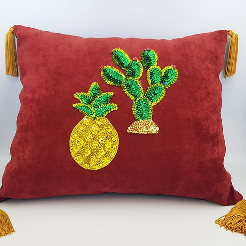 Sequined Suede Cushion