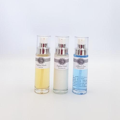Travel Set: Lotion, Liquid Soap & Sanitizer