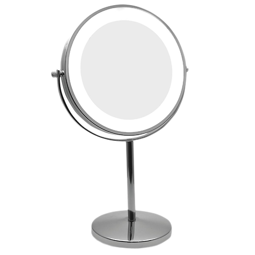 Зеркало 15см х 5увеличение с подсветкой ( на батарейках) - два цвета. Арт. D710