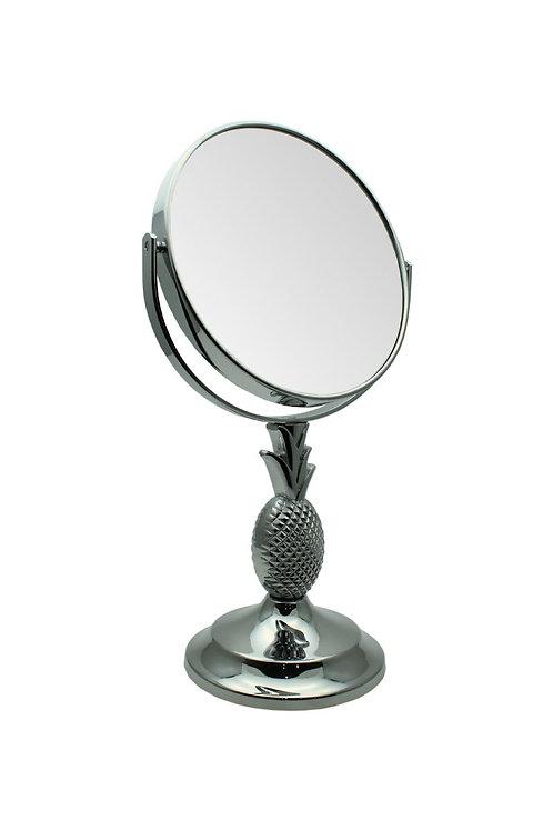 Зеркало круглое 17,5 см х 5увелич. с ножкой ананасом – хром. Арт.D897