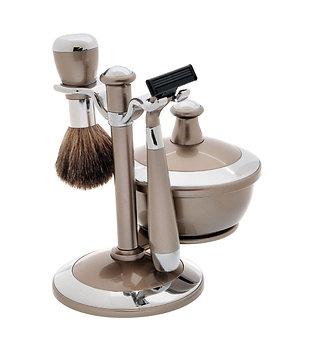 Набор для бритья (4 предмета). Бежевый/хром