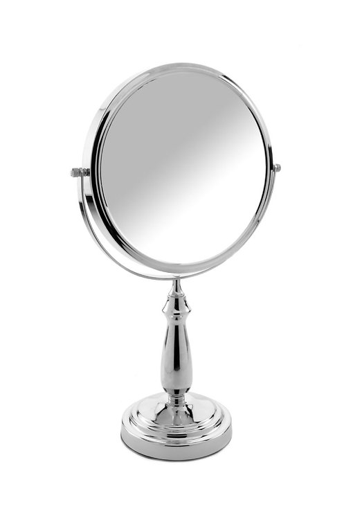 Зеркало 23 см х 10 увеличение на подставке - хром. Арт. D808