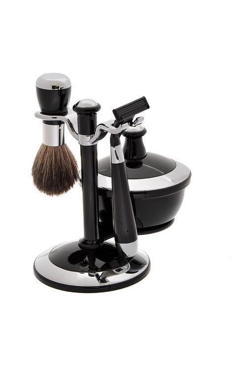 Набор для бритья (4 предмета). Чёрный/хром