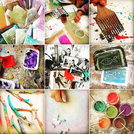 artes plásticas, talleres, collage, pintura, dibujo, papeles, creatividad,