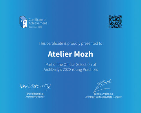 We are selected as one of archdaily's the Best young practices in 2020