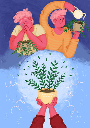 man taking care of plant herbs basil editorial illustration