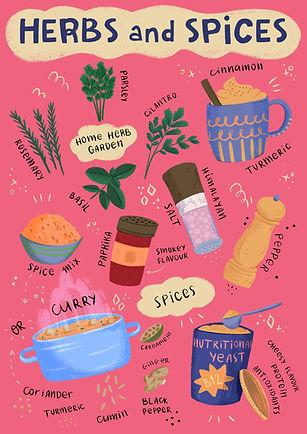 editorial spot illustration of herbs and spices - curry, salt, pepper, basil, corriander, cilantro, nutritional yeast