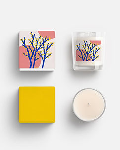 candle design mock up packaging pattern design illustration abstract tree plant yellow pink design