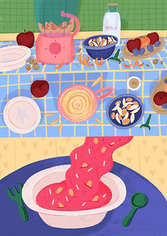 food illustration smoothie recipe editorial art baby food banana apple apricot peach milk food illustration