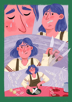 comic of a woman making french onion soup cutting onions funny illustration