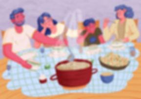 illustration of family having dinner french onion soup dinner table illustration pattern editorial full background art