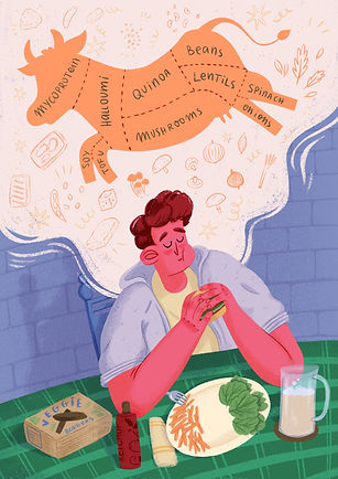 Full background editorial illustration of a character, man eating a vegetarian burger