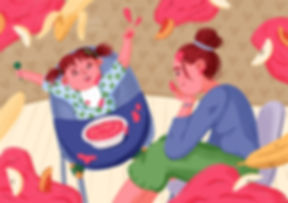 editorial full background illustration baby and mother mum feeding kid with baby food expressive characters art fruits