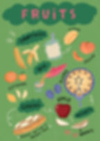 editorial spot illustration of fruits, desert, apples, pie, mango, smooties, citruses snacks food illustration