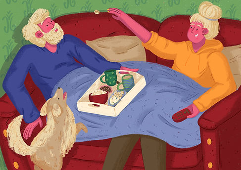 full illustration of a couple having snacks and a dog, editorial illustration of characters