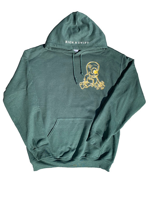 Forest Green Blurred Hoodie