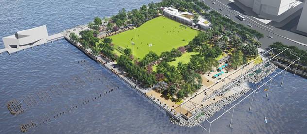 Ein neuer Strand/Park für Manhattan