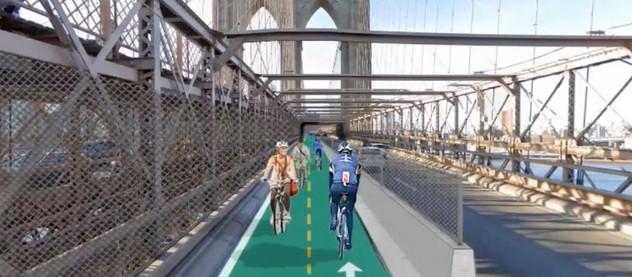 Ein neuer Fahrradweg über die Brooklyn Bridge