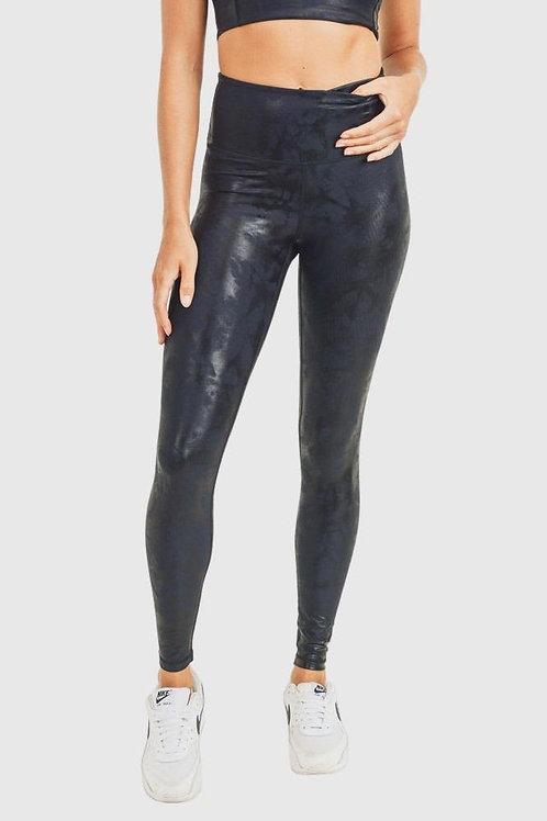 Metallic Black and Navy Foil Leggings