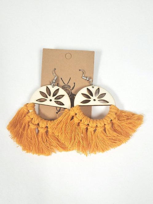 Handmade Macrame Lotus Earrings