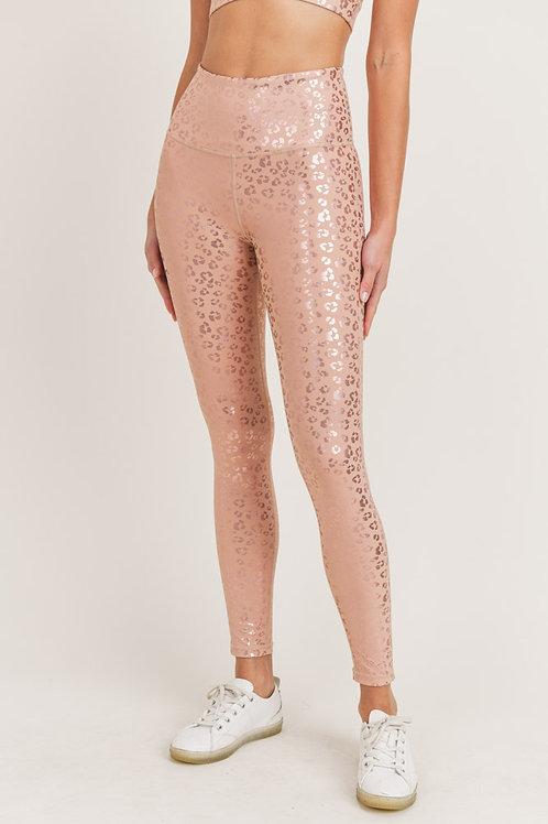 Leopard Shimmer Foil Highwaist Leggings