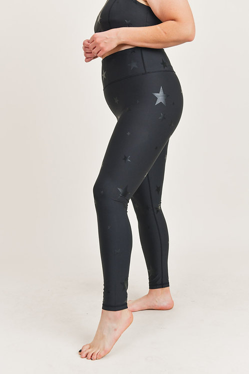 Curvy Black Star Foil Leggings