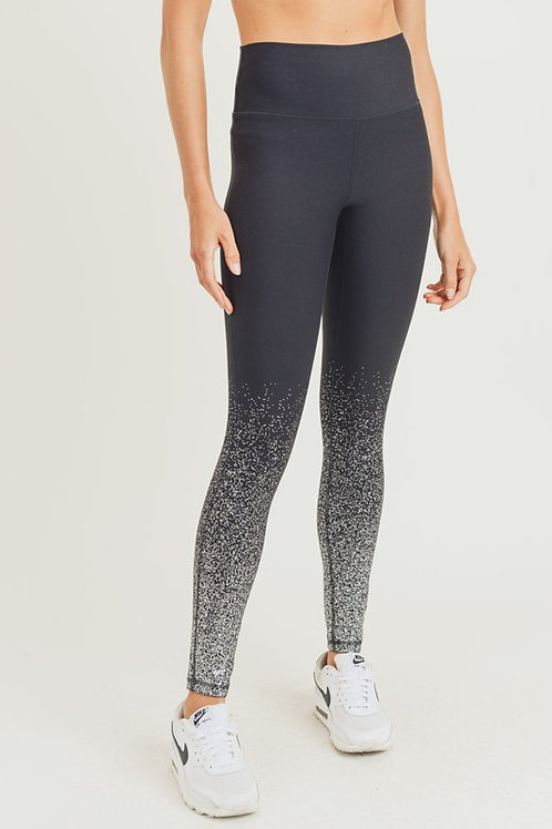 Black and Silver Sparkle Yoga Pants