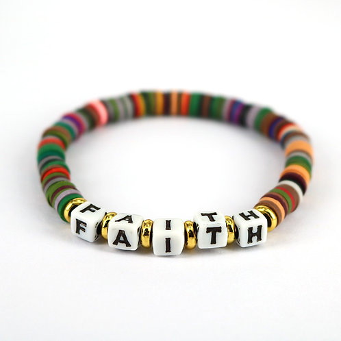 Colorful Rainbow Disc Beaded Word Bracelet