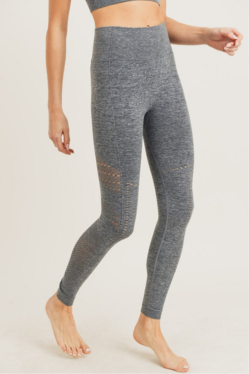Striped and Perforated Seamless Highwaist Leggings