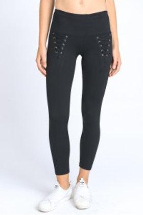 Lace Front Black Leggings