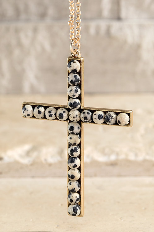 Natural Stone Cross Pendent Necklace